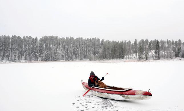sneeuw-kano-meer